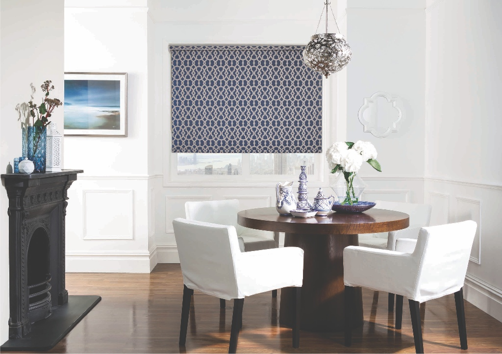 combine bold lines and soft suede with marrakesh veda roller blinds